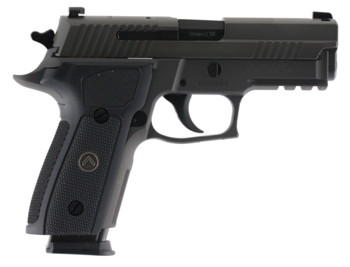 black semi automatic handgun