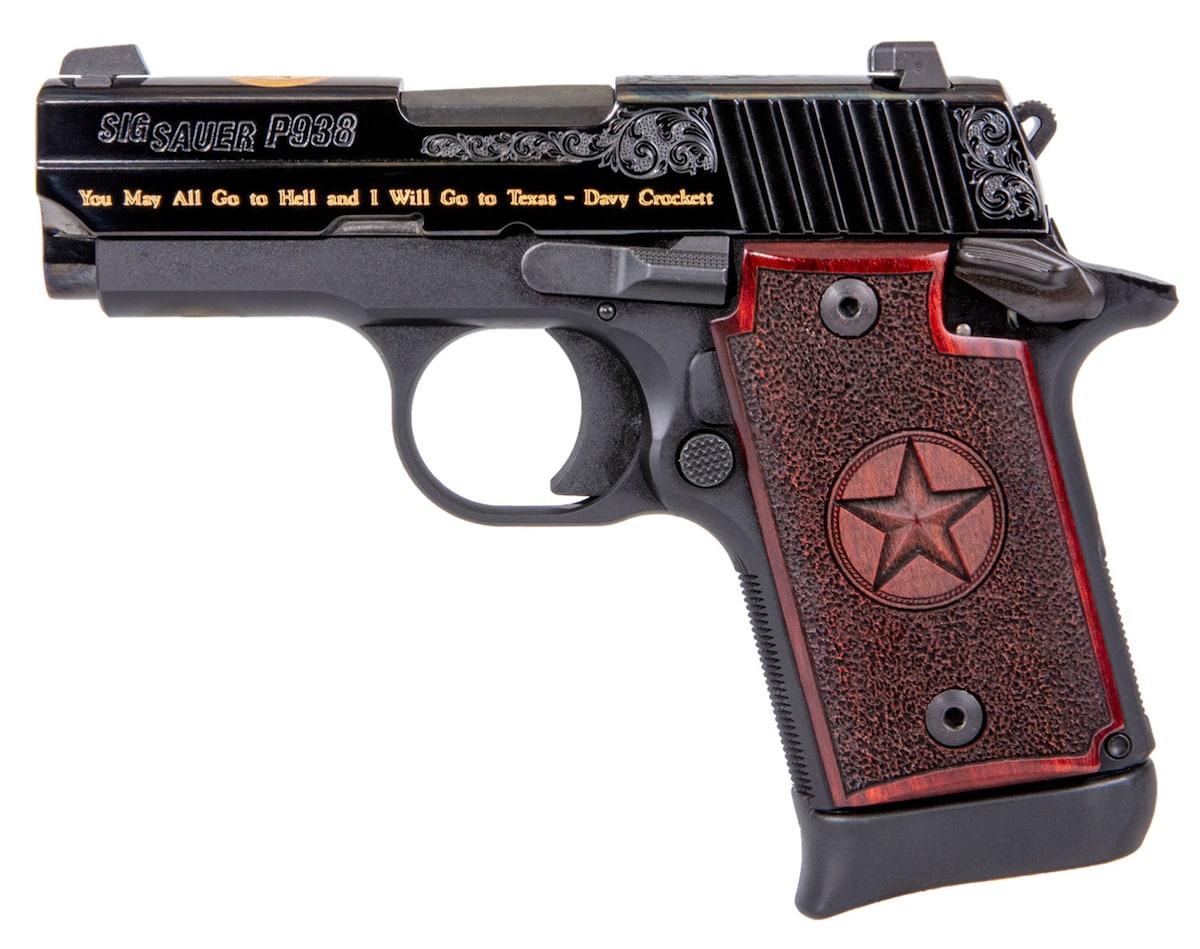 SIG SAUER P938 TEXAS ENGRAVED GOLD SAO