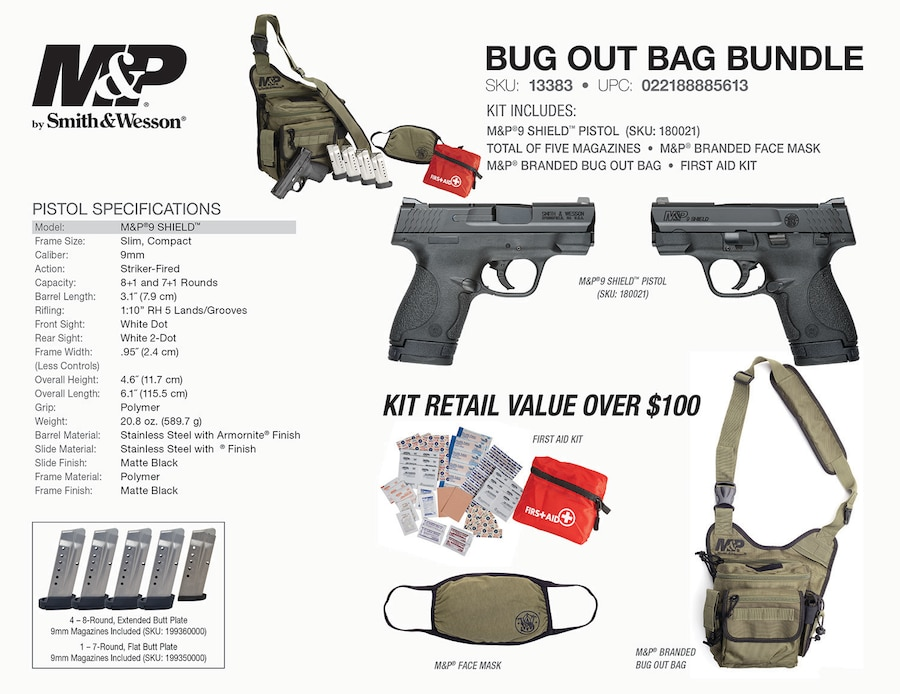 SMITH & WESSON M&P SHIELD BUG OUT BAG BUNDLE