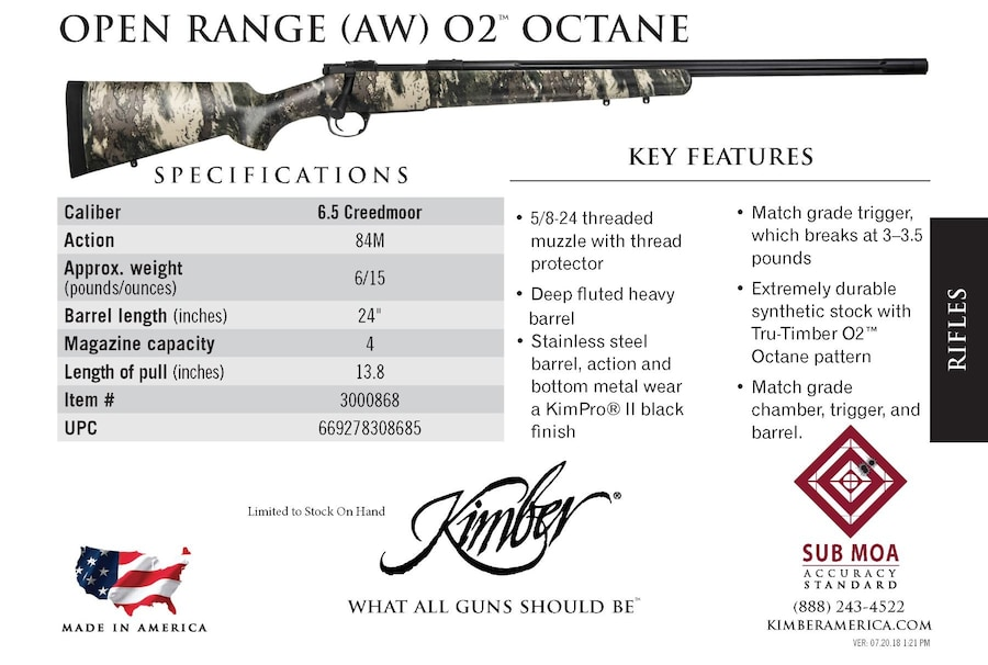 KIMBER 84M OPEN RANGE AW OCTANE