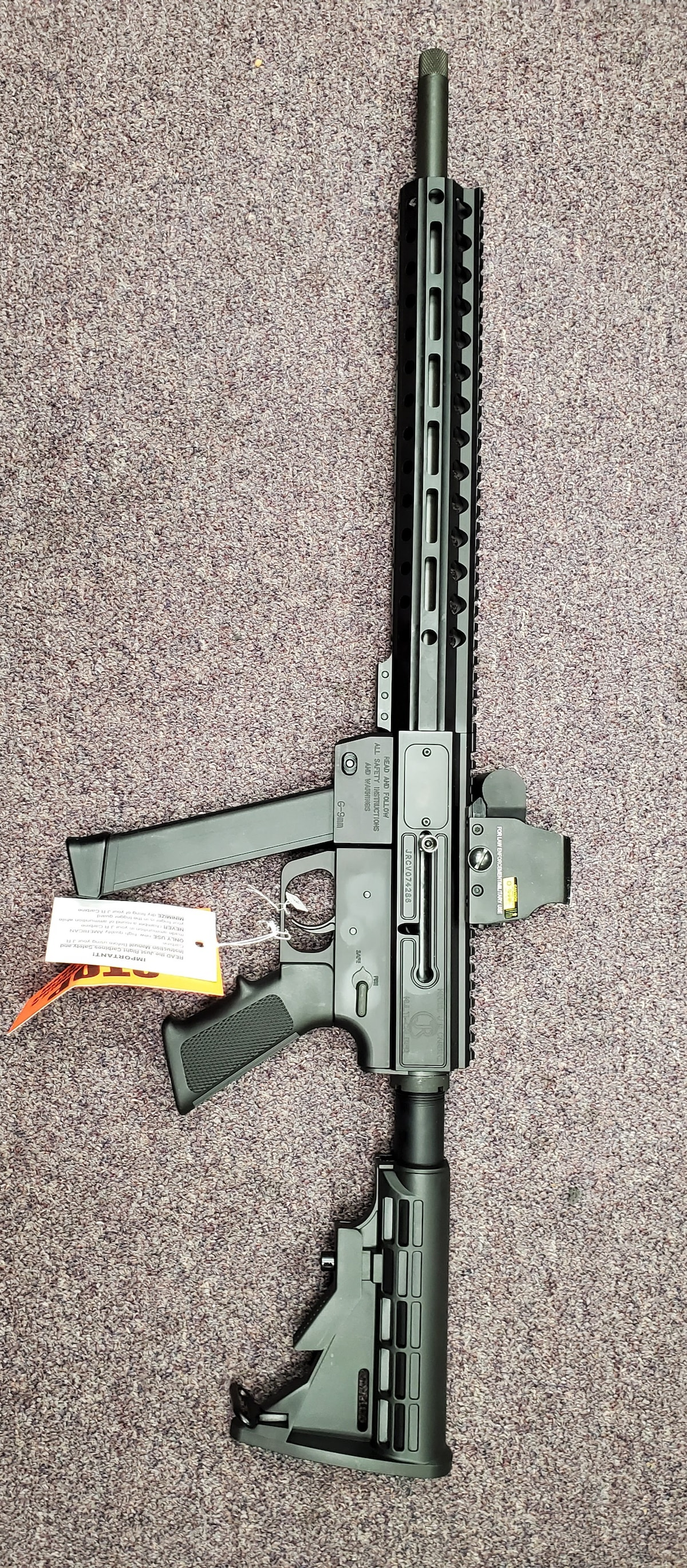 JUST RIGHT CARBINE Gen 3 9mm MLok Rail with red dot sight
