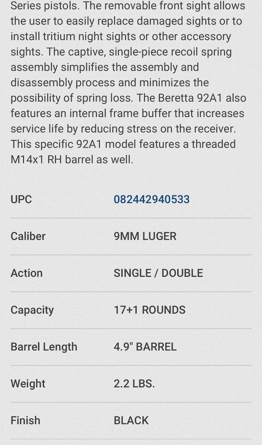 BERETTA 92 A1 Theaded Barrel