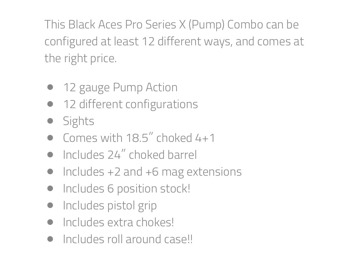 BLACK ACES TACTICAL combo package X series pump