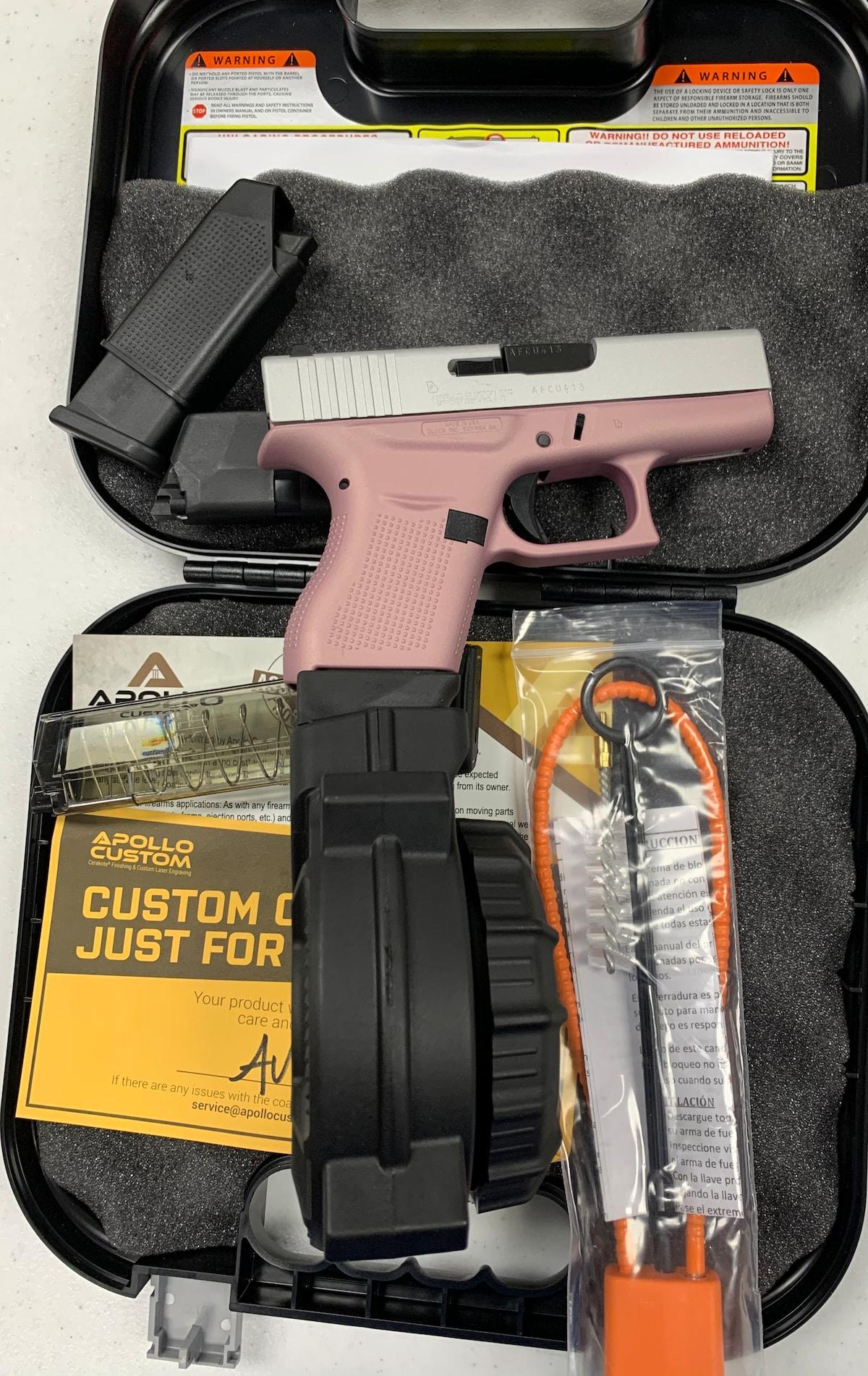 GLOCK 43 G43 ROSE PINK 50 ROUND DRUM