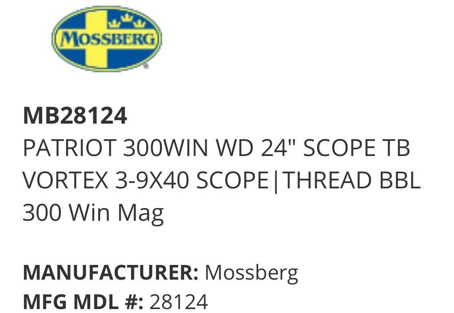 """MOSSBERG patriot 300win wd 24"""" vortex"""