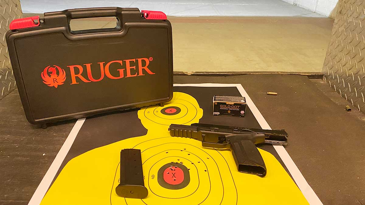 ruger 57 with gun case and ammo box
