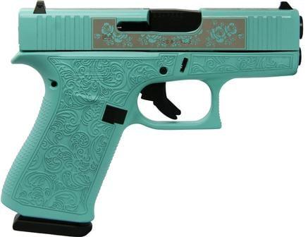 "GLOCK 43X Custom Engraved Tiffany ""Glock & Roses"""