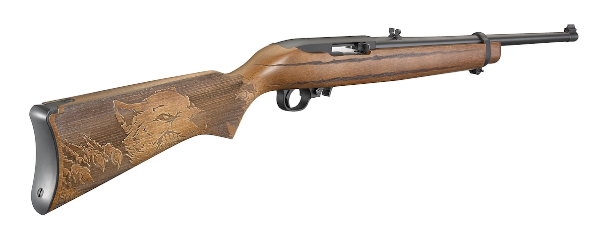 """RUGER 10/22 WOLF 22LR BL/WD 18.5"""" 31135 ENGRAVED WOLF STOCK 22 LR 1 of 500 Made"""