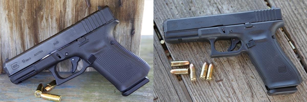 glock g19 g17 side by side 9mm handguns