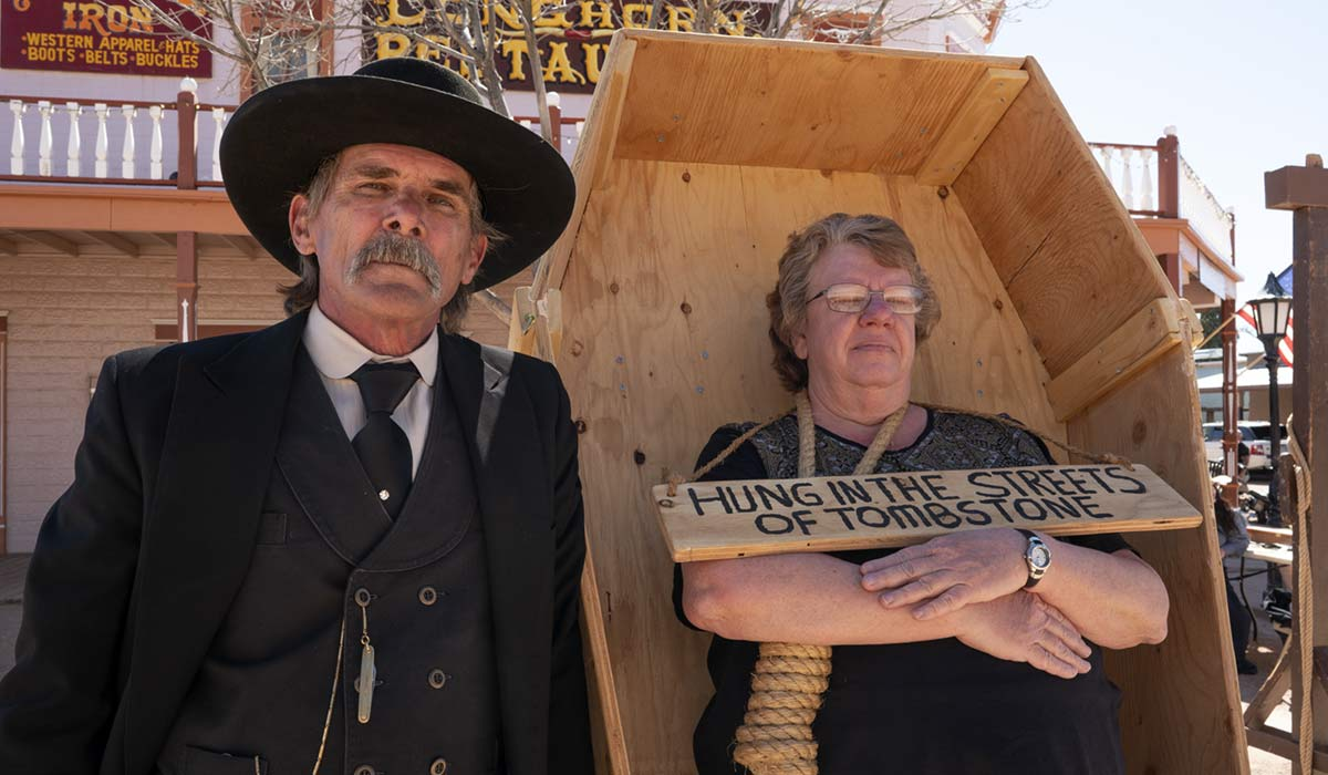 The Vigilantes offer the public a chance to be hung and displayed in a coffin