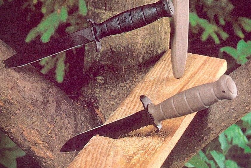 glock knives stabbing wood