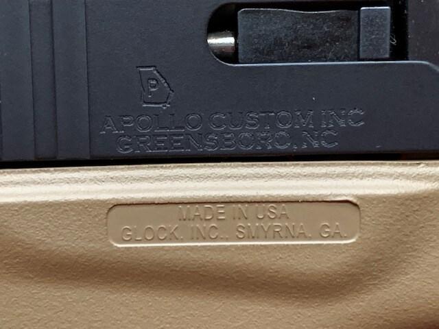 GLOCK 42 G42 380 AUTO APOLLO CUSTOM DDE DARK EARTH W/ BLACK SLIDE ACG-00837