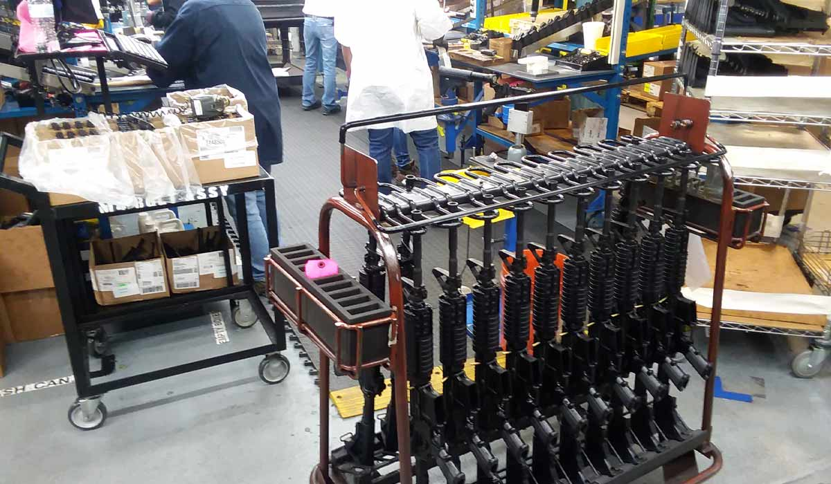 M4 rifles destined for the US miliary being made at the Columbia, South Carolina factory
