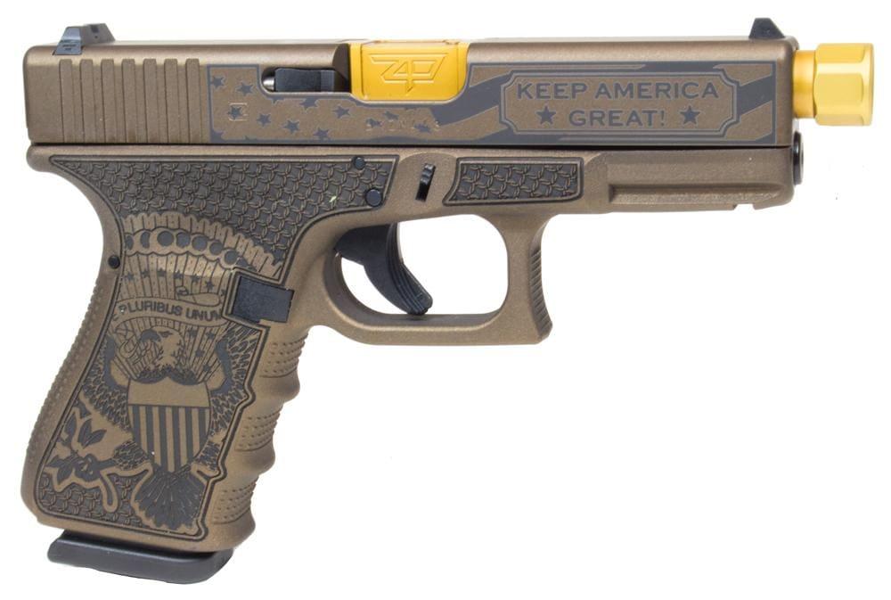 "GLOCK Compact G19 Gen3 ""Trump"" Edition Handgun 9mm Luger 15rd Magazine 4.6"" Threaded Barrel Fixed Sights"