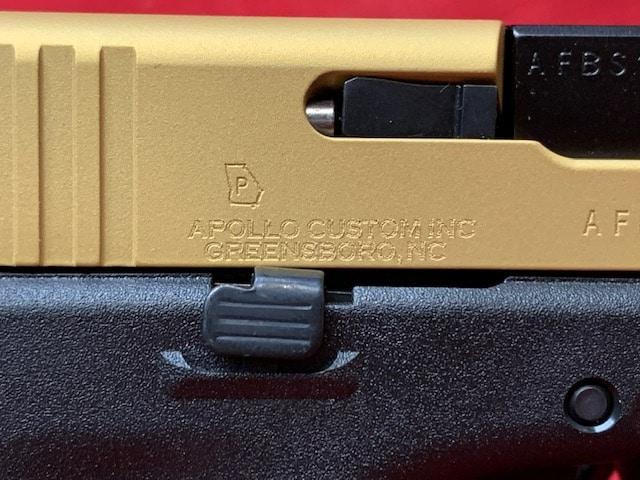 GLOCK 17 G17 GEN 5 9MM APOLLO CUSTOM BLACK FRAME W/ GOLD SLIDE ACG-57017
