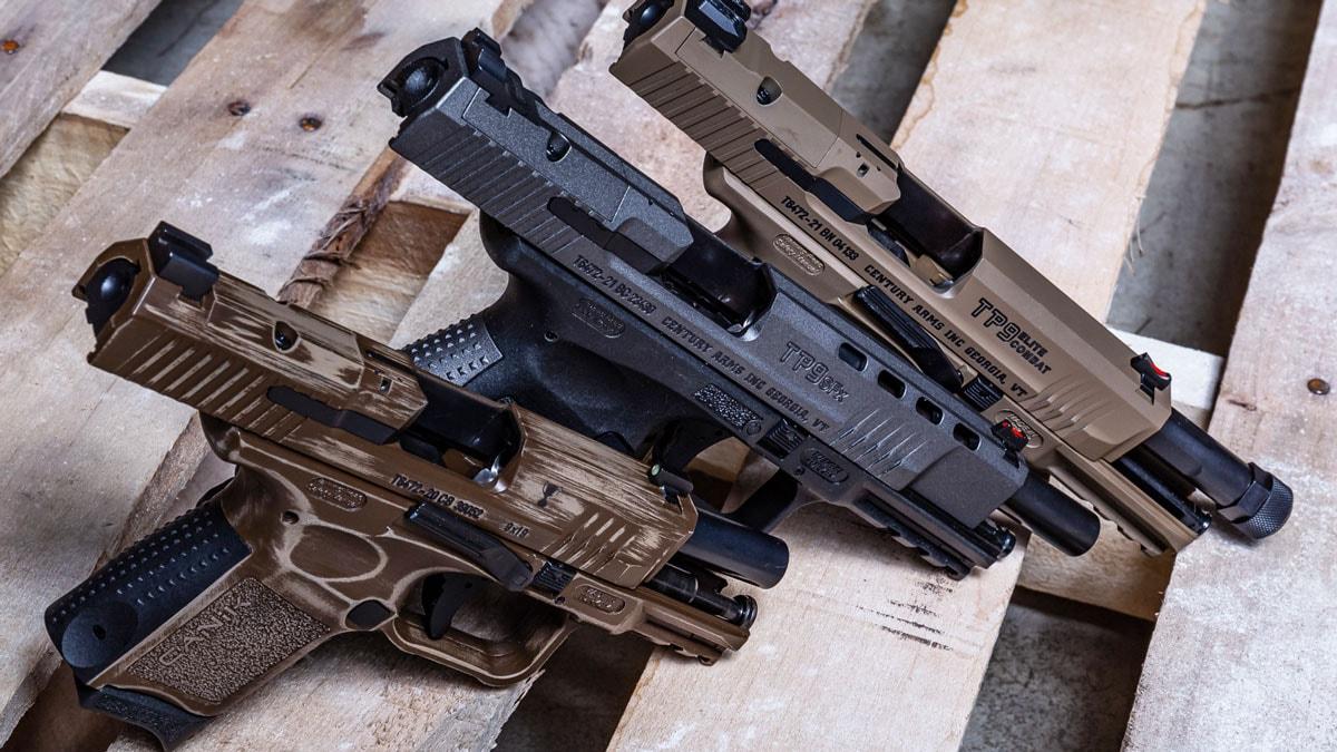 3 Canik Pistols on Woden Pallet