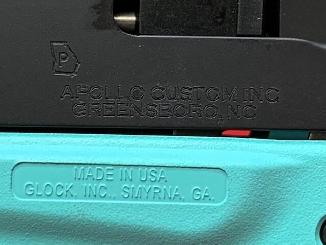 GLOCK 43 G43 9MM APOLLO CUSTOM ROBINS EGG BLUE/ TIFFANY BLUE W/ BLACK SLIDE ACG-00835
