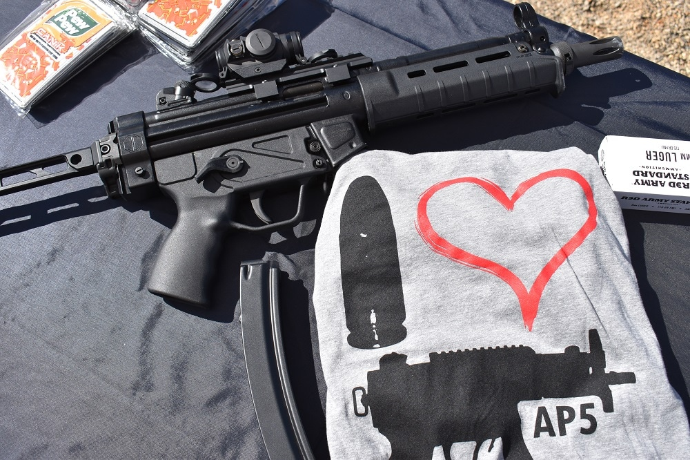 """Century Arms AP5 or AP-5 on a table top with Red Army Standard ammo and a shirt that says, """"I (heart) AP5"""""""