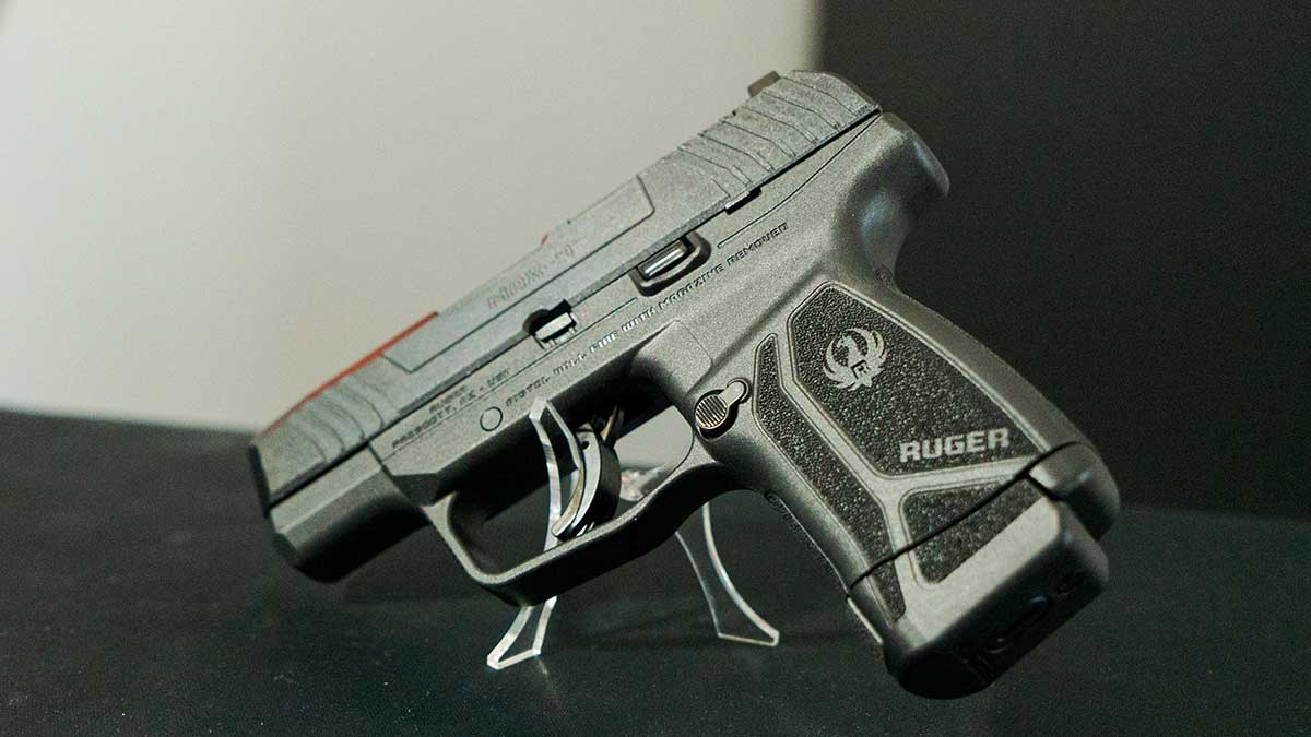 Ruger max-9 pistol in a display stand