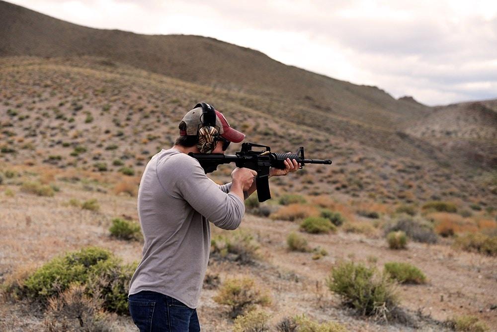 Bushmaster M4 Patrolman being fired in the desert