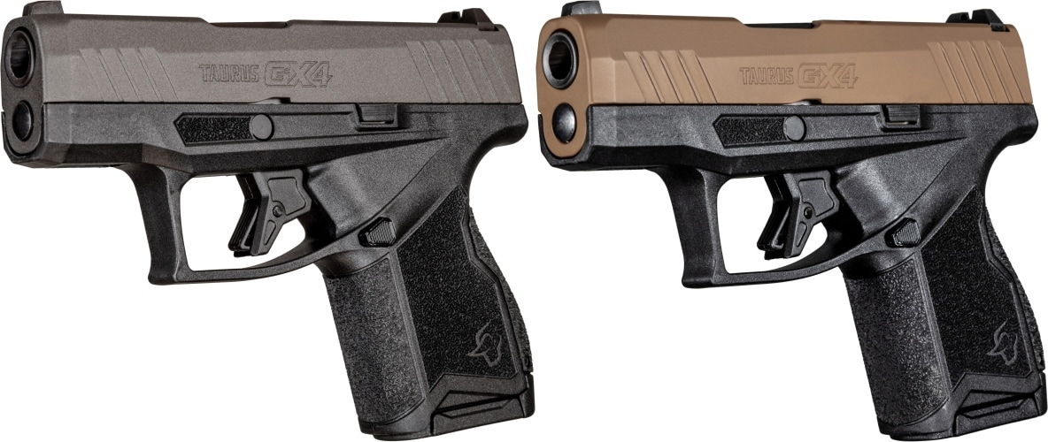 Taurus GX4 pistols in tan and tungsten two-tone finishes