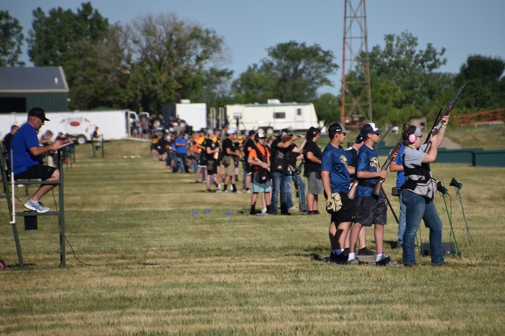 Line of shooters in clays competition