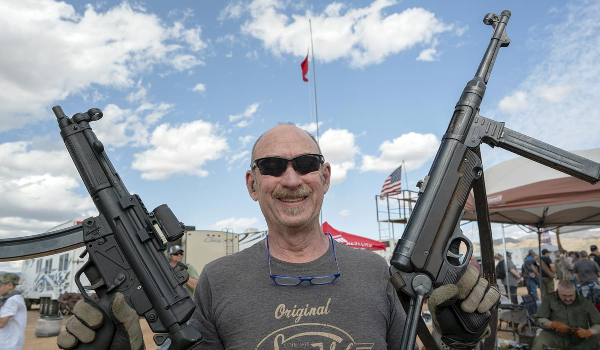 Cameron Hopkins at the Big Sandy Shoot with his HK MP5 and MP 40 ready to shoot some RC airplanes