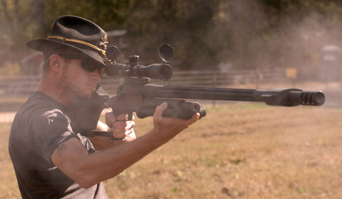 Marc Hampton fired an Armalite AR-50 rifle and blew up a car rigged with dynamite and diesel at the Knob Creek Range