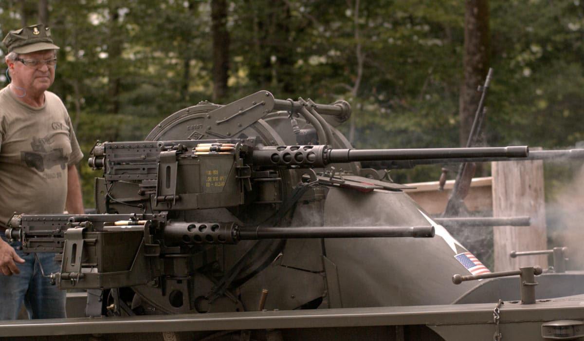 "Steve Carlesco showed up at the Green Mountain Boys machine gun shoot with his M45 Quadmount ""Meat Chopper"""