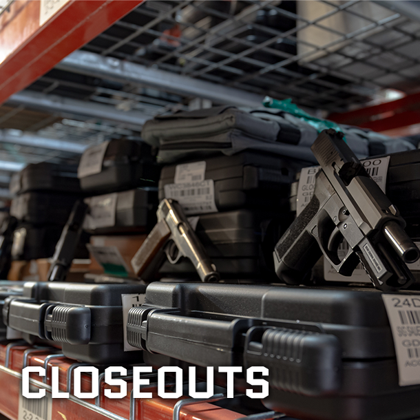 Warehouse Clearance Closeout Guns on Boxes