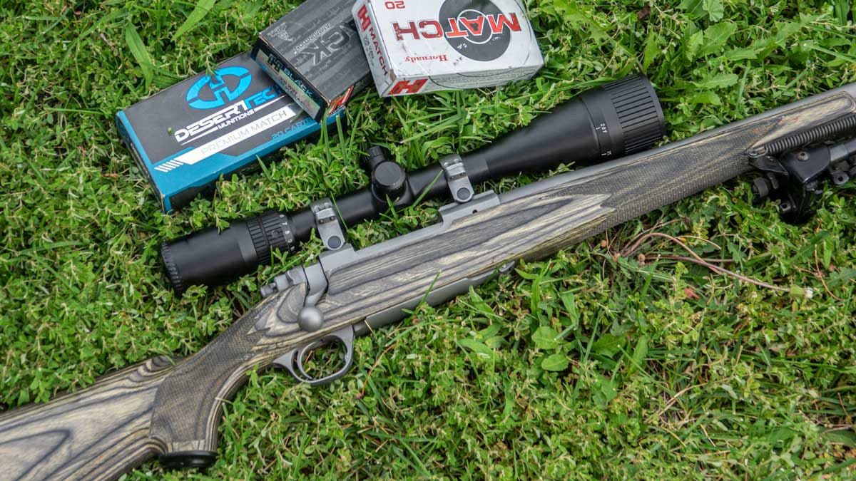 Ruger Model 77 rifle on grass with ammo