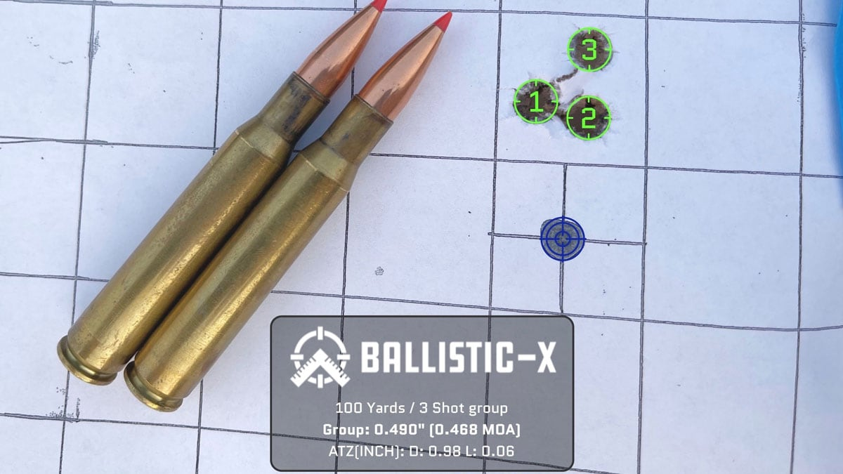 Shooting group on target