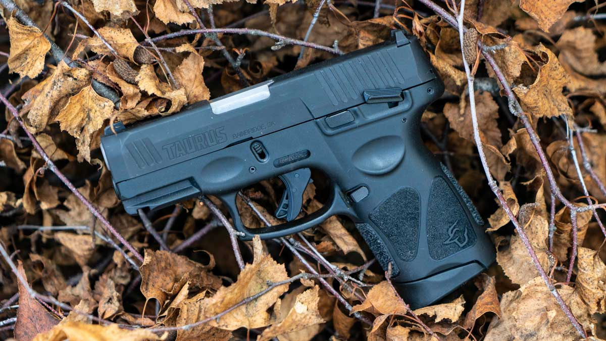 Taurus G3c pistol on a bundle of bushes
