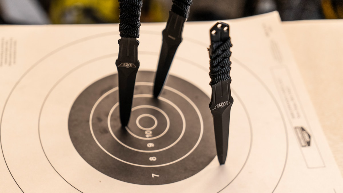 Uzi throwing knives stuck in a target