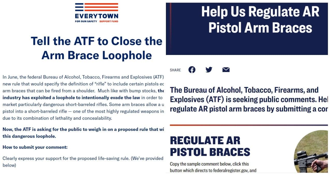 Everytown Giffords pistol brace campaign screenshots