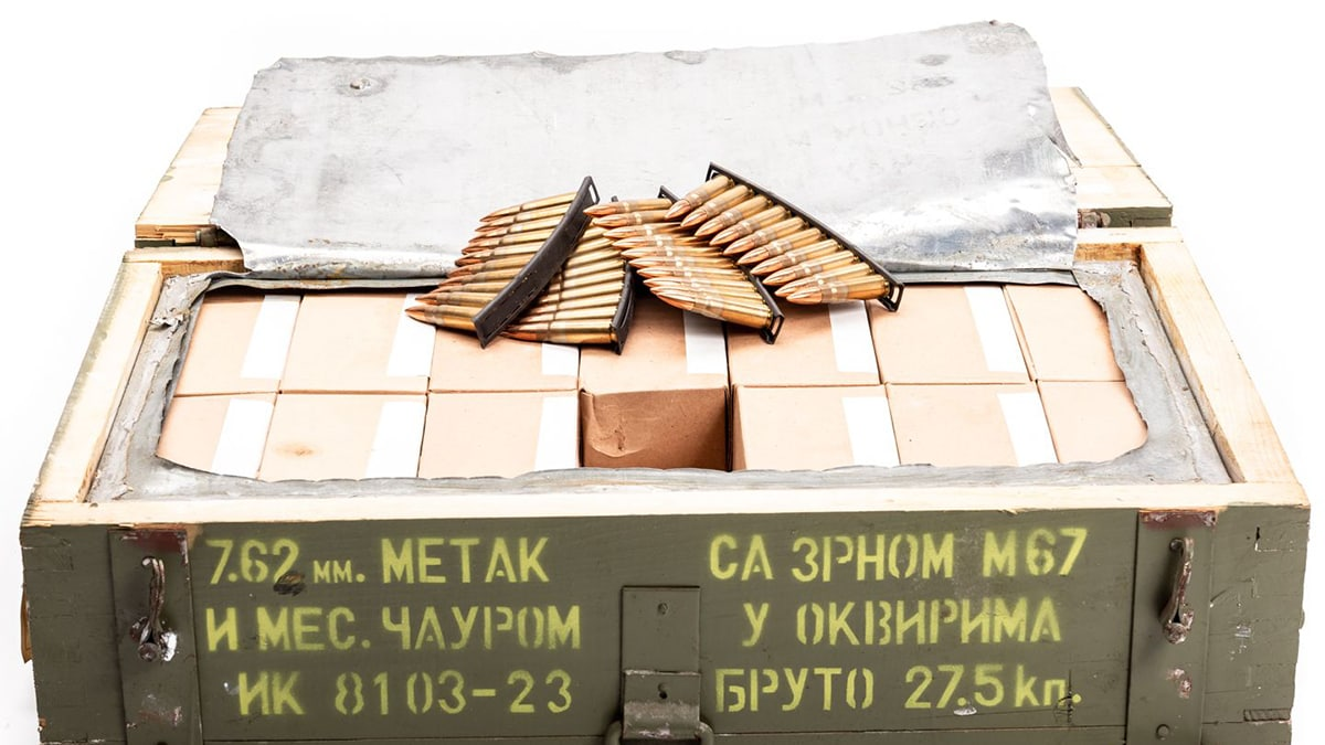 Yugoslavian 7.62x39 ammo in crate on stripper clips