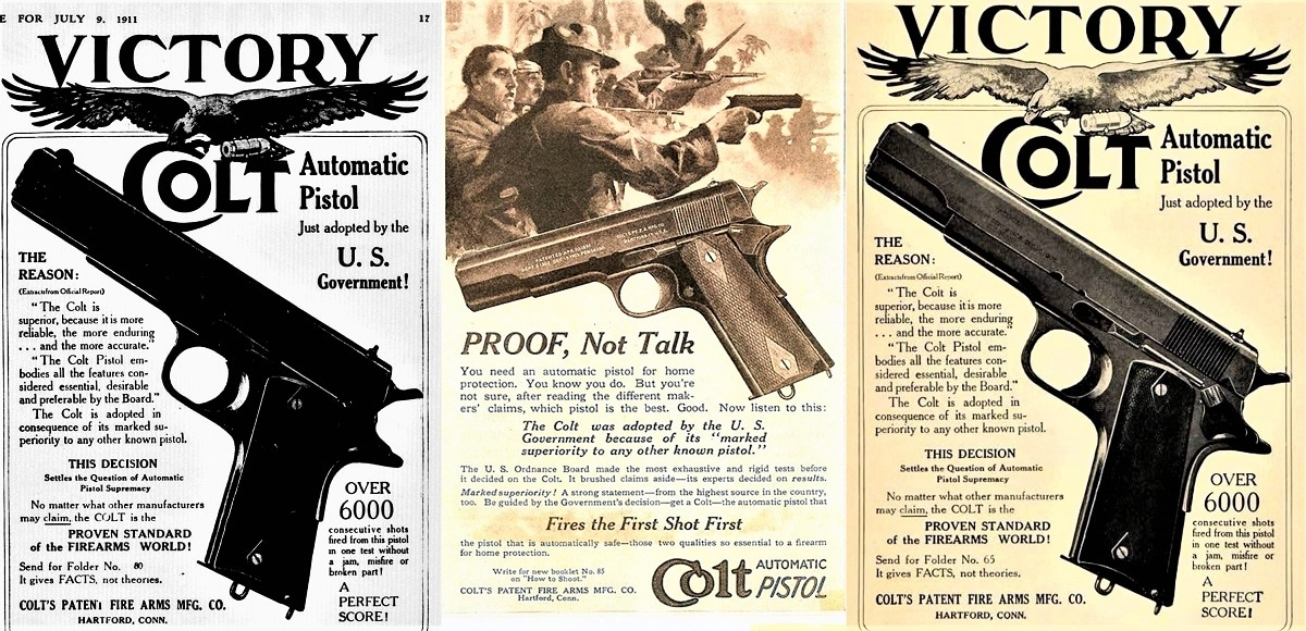 Colt's period ad copy announcing the success of its new Automatic.