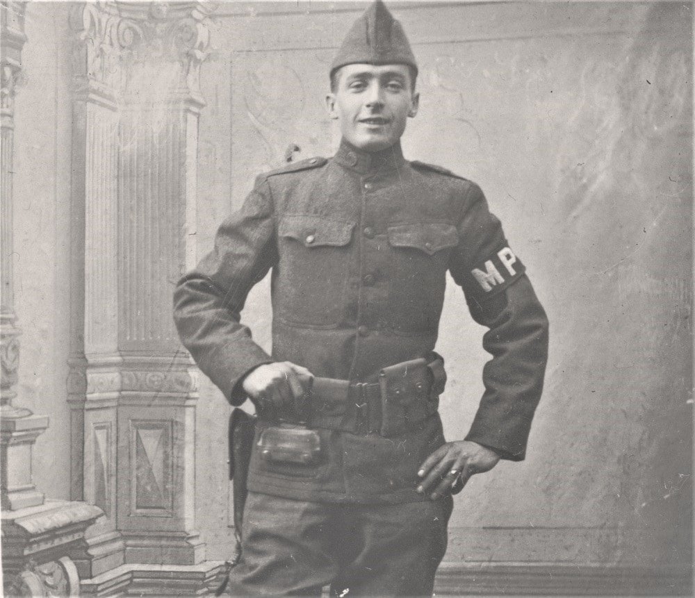 An MP of the 26th Infantry Division in uniform, between 1917 and 1919. Note his pistol belt. (Photo: Library of Congress)