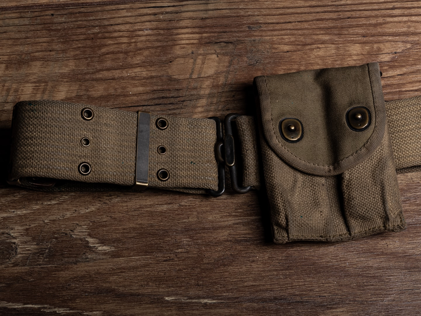 Included are a worn M1916 style canvas pistol belt with a magazine pouch.