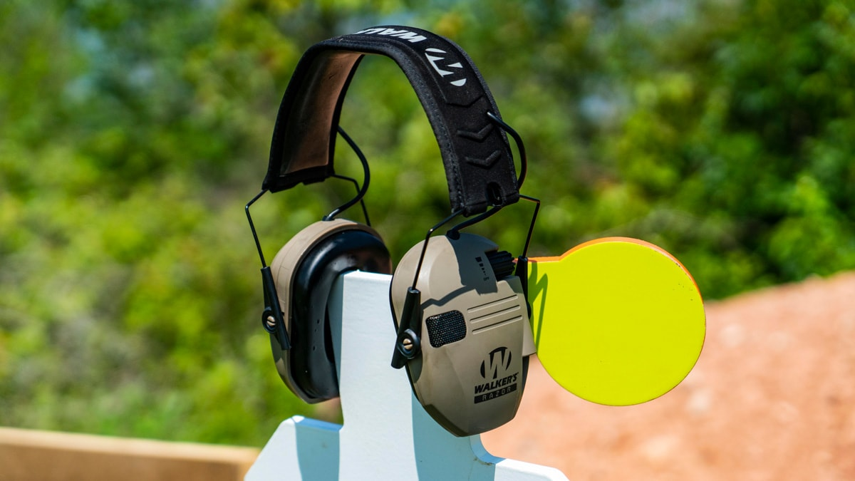 Walker's Razor Hearing Protection sits on a target