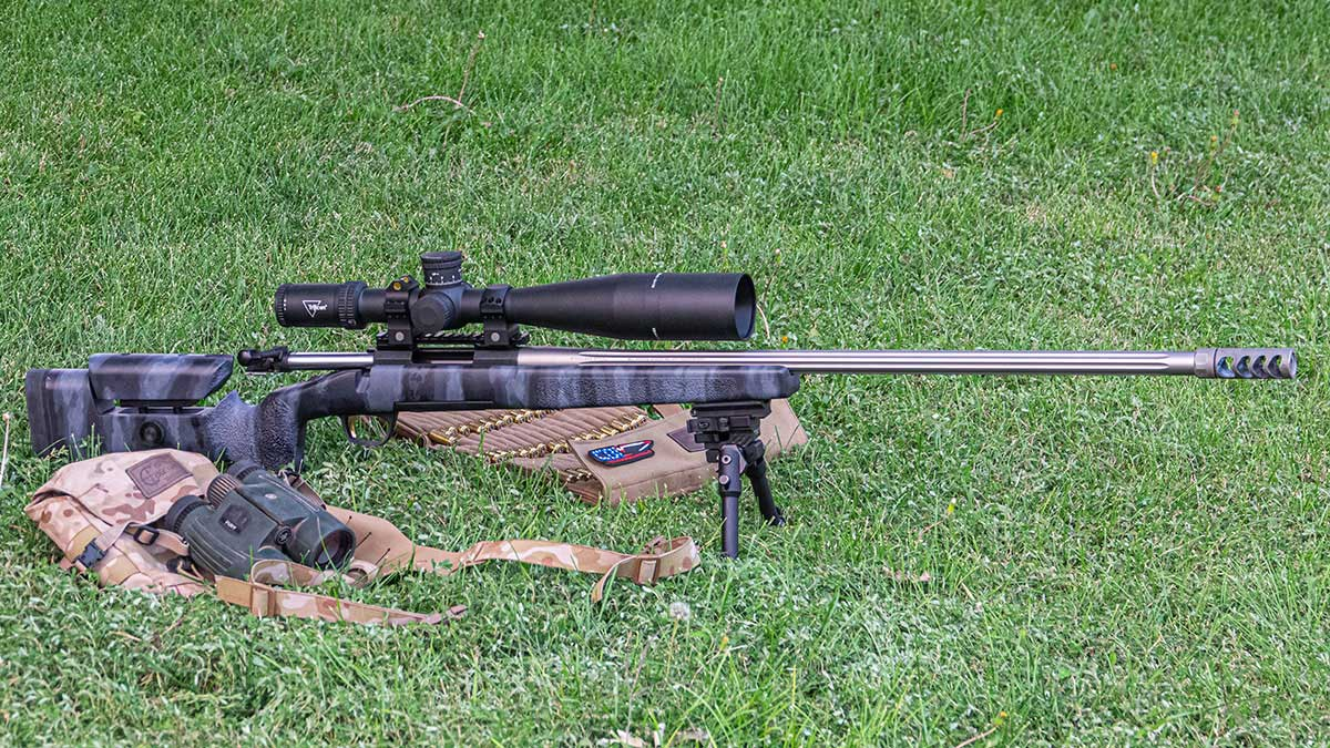 Browning X-Bolt with bipods sits in the grass