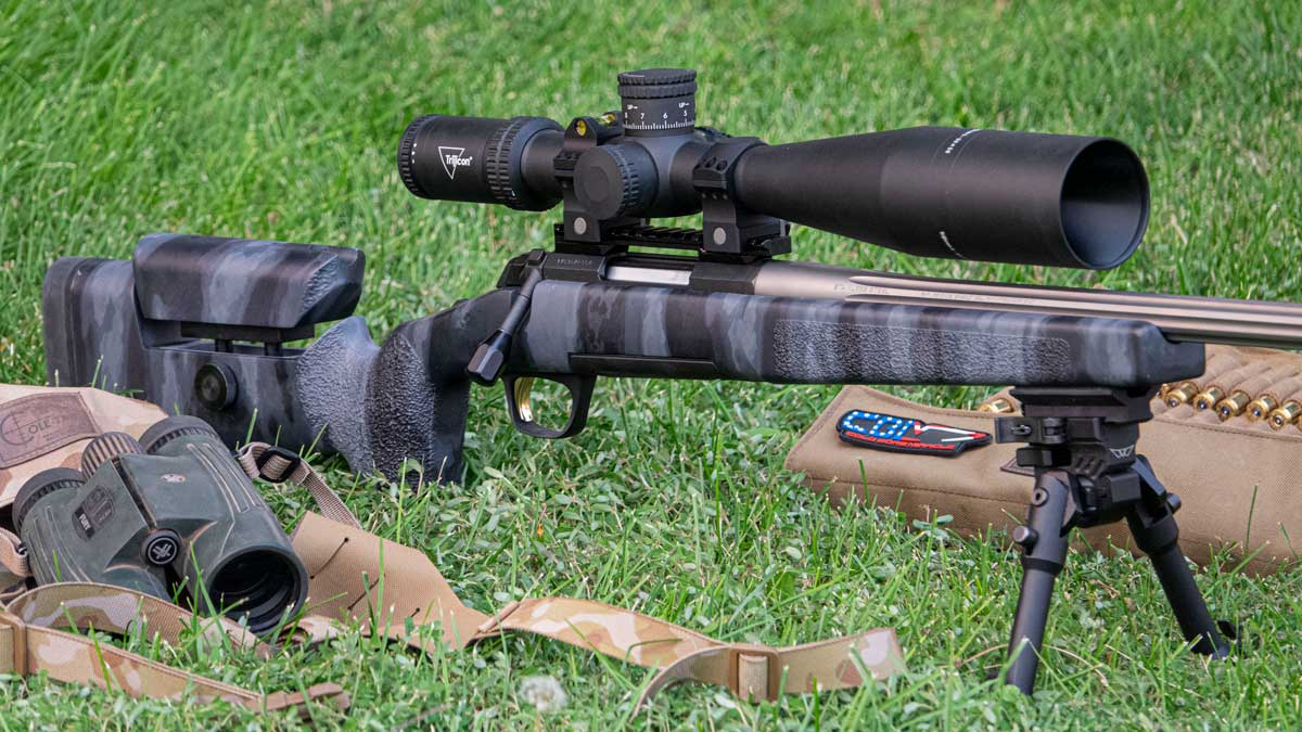 Browning X-Bolt rifle on a bipod with scope