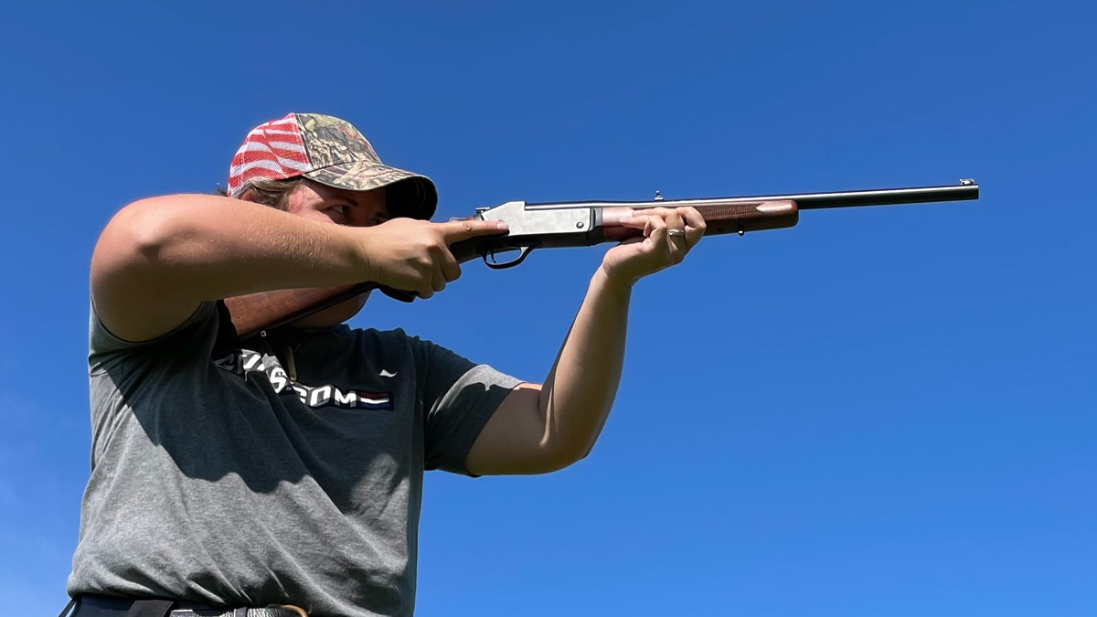 A shooter fires the Henry Single Shot rifle