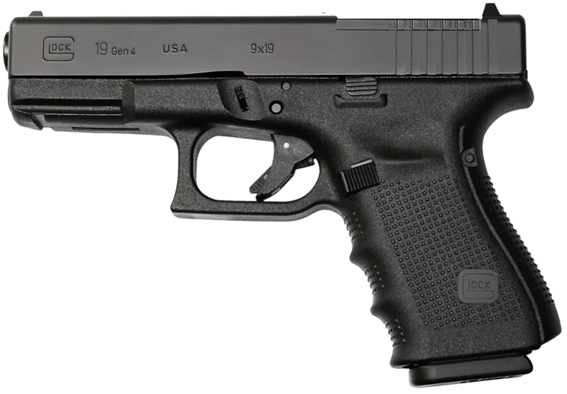 The Glock 19 is a striker-fired pistol chambered in 9mm.