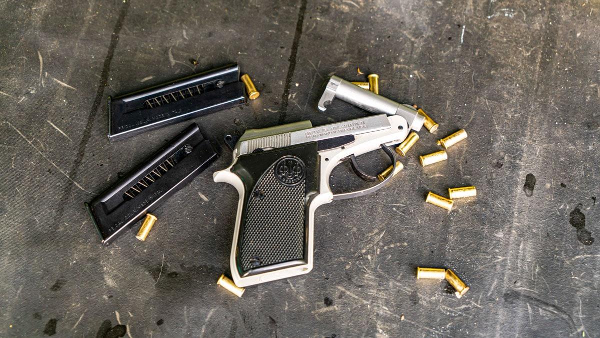 Beretta 21A pistol at the range
