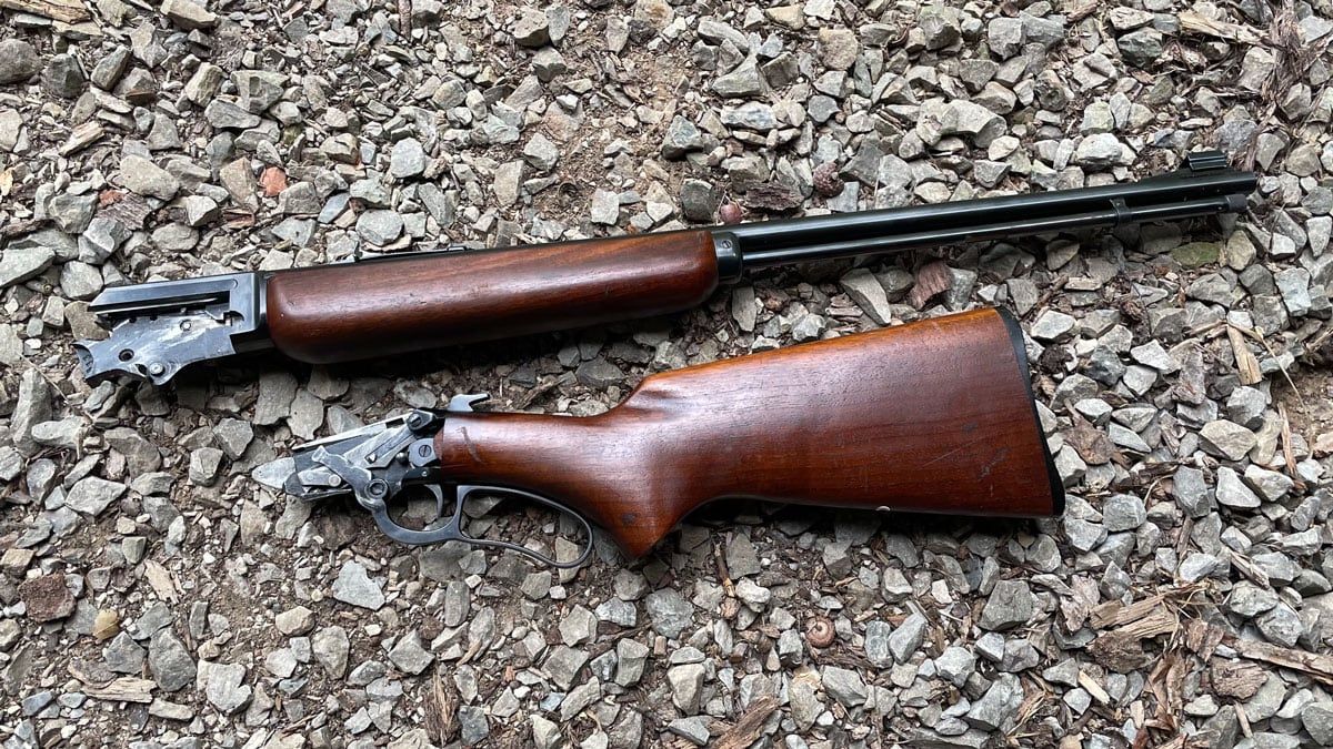 Disassembled Marlin 39A takedown rifle.