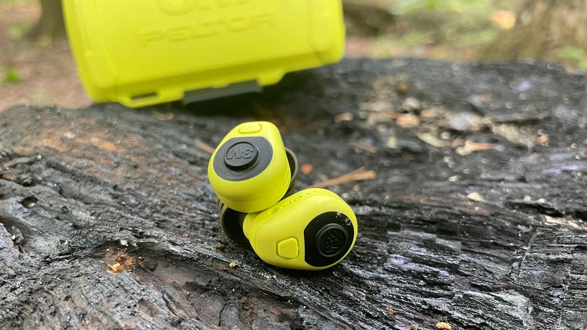 Peltor LEP-200 ear plugs on a log
