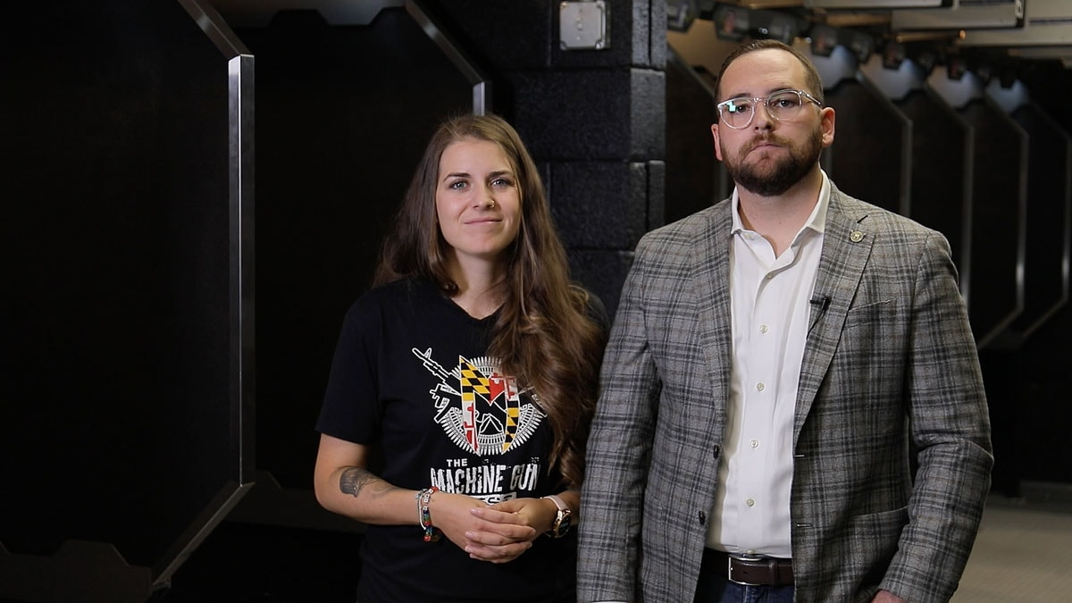 Two owners of the Machine Gun Nest, Stephanie and Rob, stand on their range