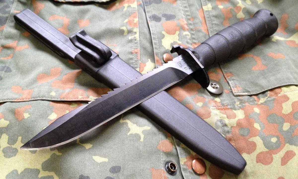 Glock field knife on a military uniform
