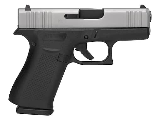 Glock PX435SL201 G43X Subcompact 9mm Luger Double 3.41 Fixed 10+1 Black Polymer GripFrame Silver PVD Slide right.png